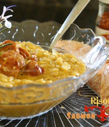Recette du risotto chorizo et du saumon à la vapeur au piment d'Espelette cuit dans la poêle Granistyl® - Kaderick en Kuizinn©2013