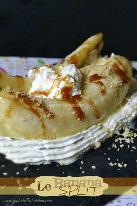 Recette du dessert banana split avec glace à la vanille, banane & sauce au caramel - Kaderick en Kuizinn©
