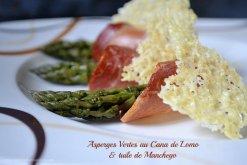 Recette Espagnole asperges vertes bio au cana de lomo et tuile de manchego Kaderick en Kuizinn©