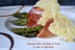 Recette Espagnole asperges vertes bio au cana de lomo et tuile de manchego Kaderick en Kuizinn© - Menu Paques
