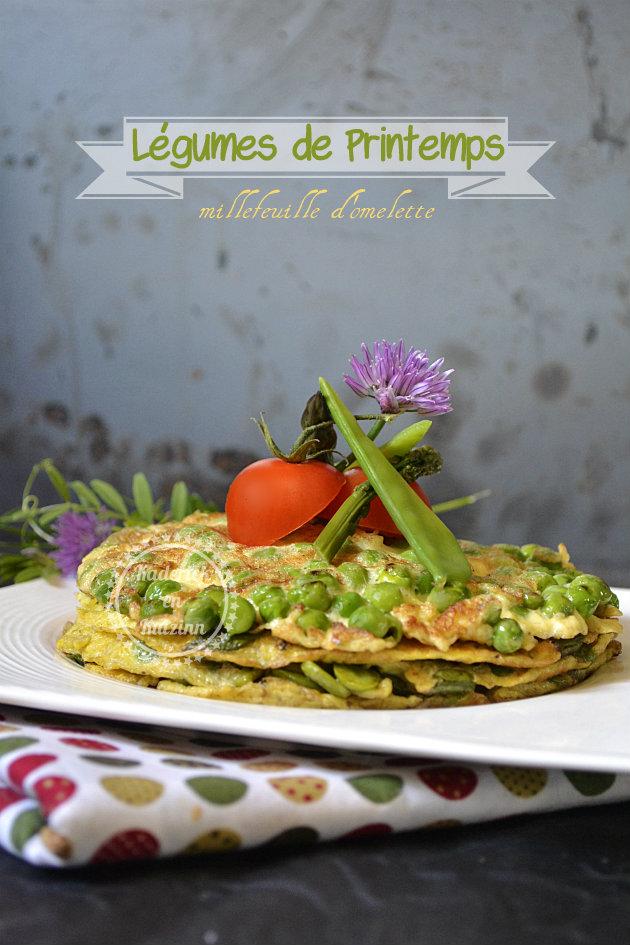 Légumes printemps bio en millefeuille d'omelette