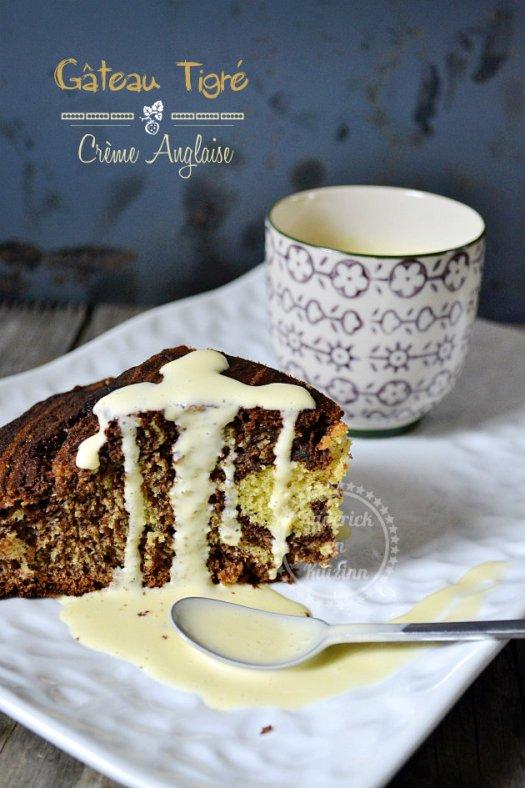 Recette dessert du gateau tigré à la vanille chocolat noir et sa crème anglaise maison