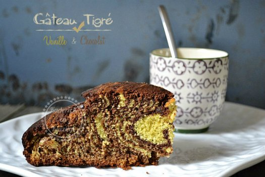 Recette dessert du gateau tigré à la vanille et chocolat accompagné de crème anglaise