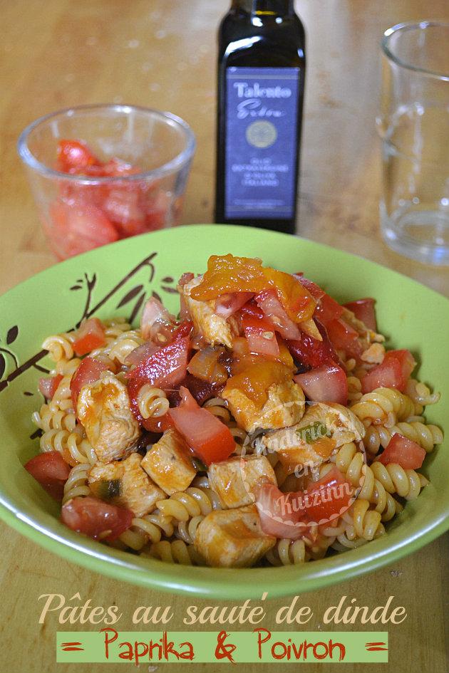 Recette pâtes à la dinde epices, sauce au paprika, poivron et tomates bio