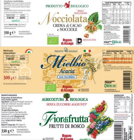 Étiquette des composants de la marque Rigoni di Asiago pour réaliser la pâte à tartiner Nocciolata