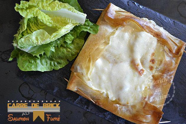 Recette brick au saumon fumé en tarte carrée, tomate bio et mozzarella