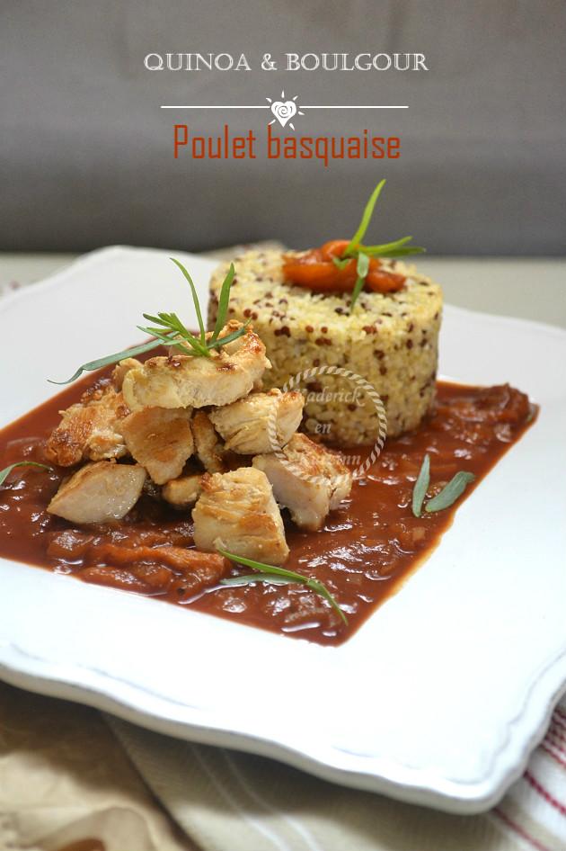 Recette du poulet basquaise avec du quinoa et boulgour de Tipiak