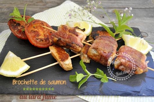 Recette plancha brochette saumon au lard fumé découpé en cubes dans des pavés de saumon bio