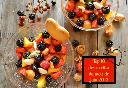 Top 10 des recettes du mois de Juin 2013