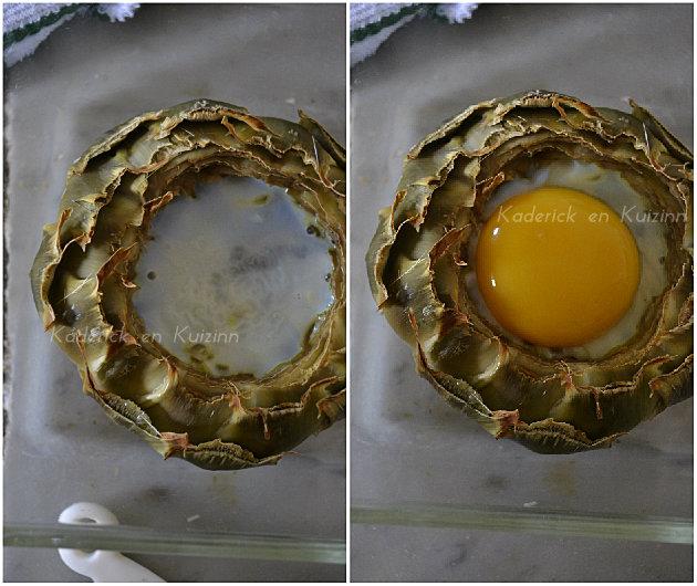 Cuisson sous le grill du fond artichaut avec des échalotes et œuf