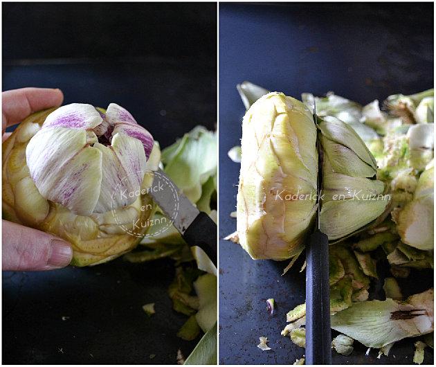 Découpage des feuilles d'artichaut camus Prince de Bretagne