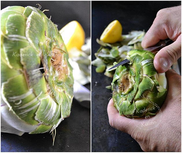 Découpage des feuilles d'artichaut rond Prince de Bretagne