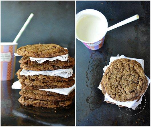 Préparation cookies US chocolat caramel et verre de lait