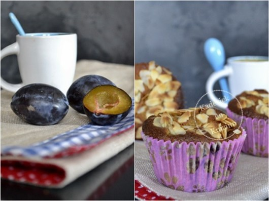 Préparation du gâteau moelleux prunes et amandes bio en version muffins