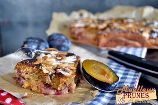 Recette gâteau moelleux prunes et amandes bio