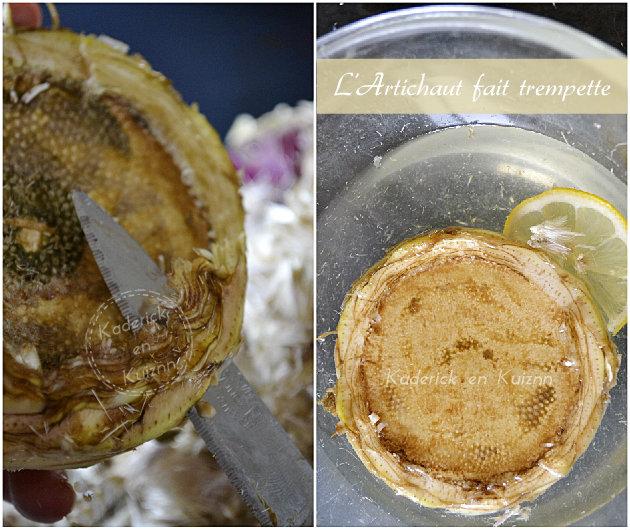 Trempage du fond d'artichaut camus dans l'eau citronnée
