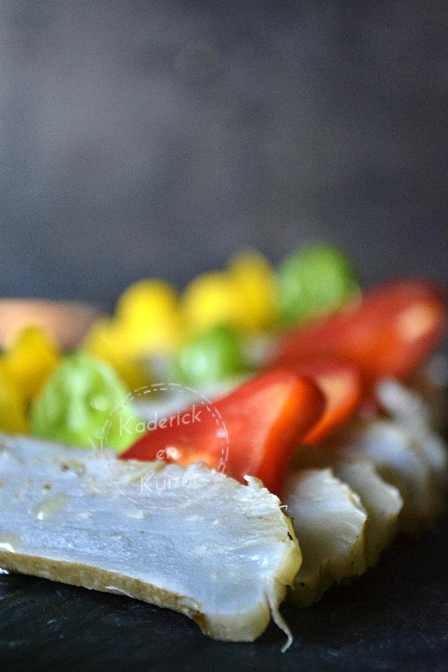 Carpaccio d'artichaut à la vapeur et tomate cerise pour Prince de Bretagne
