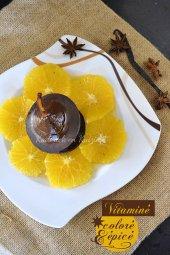 Dégustation carpaccio d'oranges à la badiane, poire pochée et chocolat