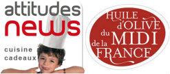 Logo partenariat Attitudes news et huiles d'olive du Midi de la France