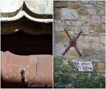 Photo d'une porte ancienne et ferronnerie sur la place du puits à Caylus