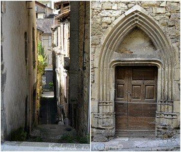 Village médiéval de Caylus avec sa rue étroite et une ancienne porte