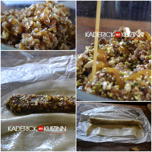 Pâtisserie orientale samoussas aux dattes, pistaches, amandes, miel