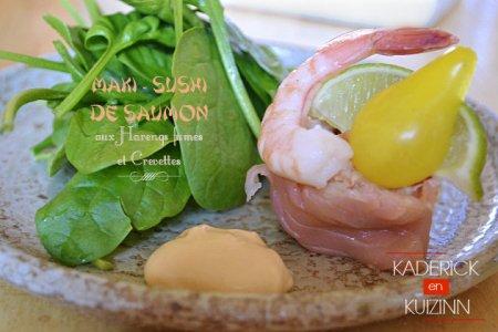 Recette maki sushi de saumon fumé aux harengs et crevettes Delpierre