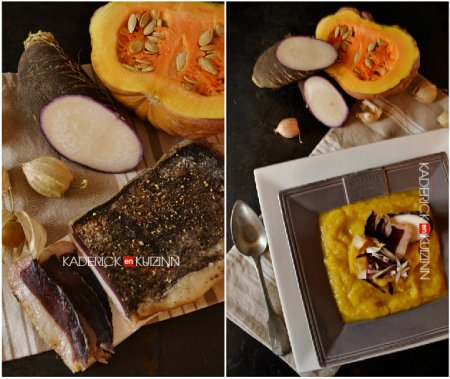 Composition d'assiette soupe detox à la courge, radis noir et magret séché