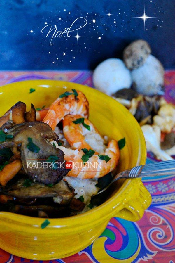 Composition du risotto au mascarpone avec une poêlée de cèpes et crevettes - Recette de Noël