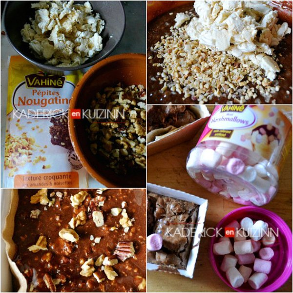 Ingrédients brownie rocky road au chocolat, meringue, noix de macadamia - Recette Américaine