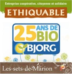 Logo partenariat Bjorg, Ethiquable et Les sets de Marion