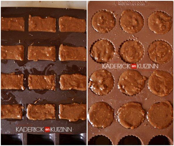 Moulage des ingrédients caramel, noisette, chocolat pour faire des Malakoff - cadeaux gourmands de Noël