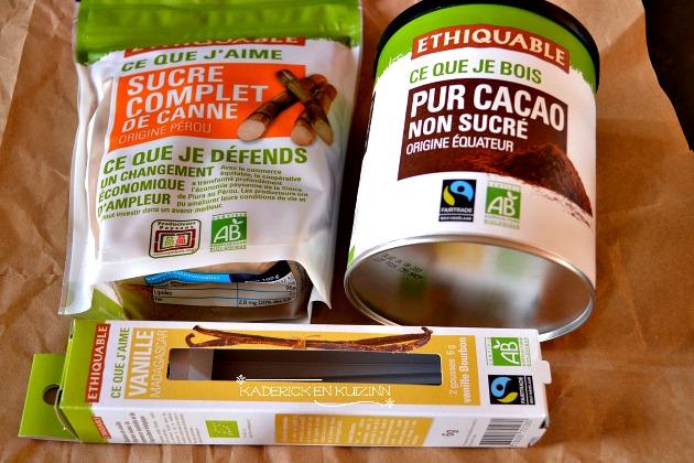 Produits Ethiquable avec du sucre complet, chocolat pur cacao et gousses vanille - partenariat