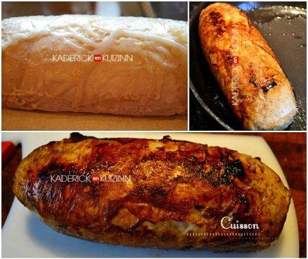 Cuisson roti poulet farci mis sous vide, cuit à lavapeur et poêlé - recette à la vapeur