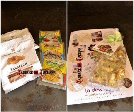 Deli box avec les produits de la box globe cooking Italie - recette italienne