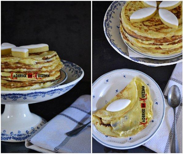 Recette chandeleur - gâteau de crêpes garni à la crème pâtissière aux calissons provençaux