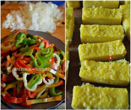 Préparation poivrons découpés en lanières et lingots de polenta au curcuma - recette de légumes bio
