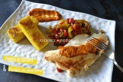 Recette lingots polenta au curcuma, poêlée poivrons et blanc de poulet à la plancha - recette de cuisine