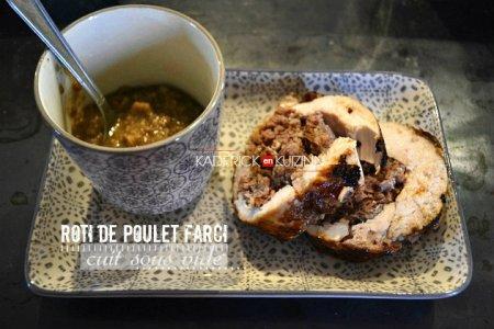 Recette roti poulet farci au foie gras cuit sous vide au Foodsaver - recette à la vapeur