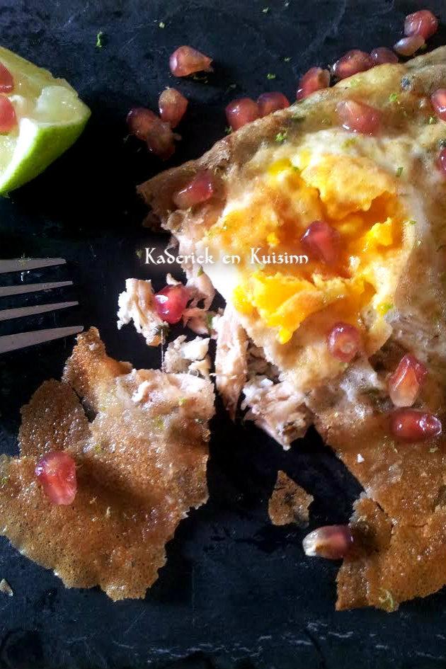 Dégustation brick à l'œuf et poulet épicé pour le thème de Culino Versions