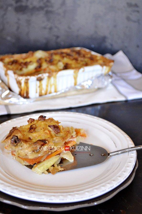 Dégustation du gratin legumes de pomme terre, carotte et noix torréfiées