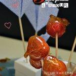 Présentation St Valentin fraises façon pomme d'amour - recette love