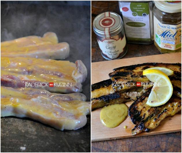 Plancha porc - Recette poitrine de porc et marinade au curry, miel et citron