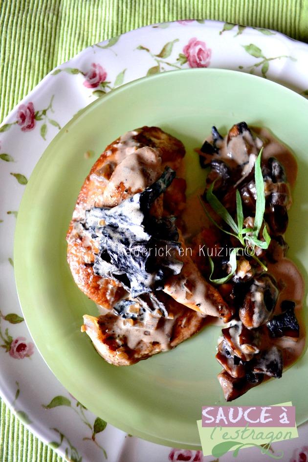 Recette poulet - aiguillettes poulet, trompette de mort à la sauce crème légère d'estragon