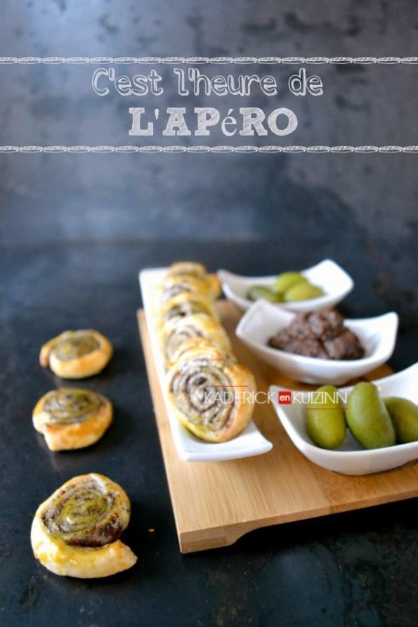 Escargots tapenade - Recette d'apéritif des minis feuilletés roulés à la tapenade