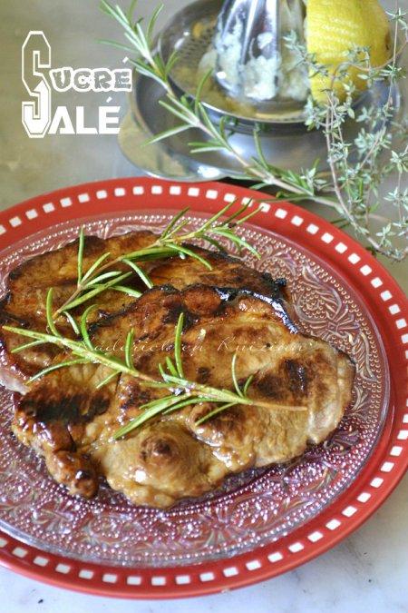 Recette plancha d'échines de porc avec la marinade sucré-salé