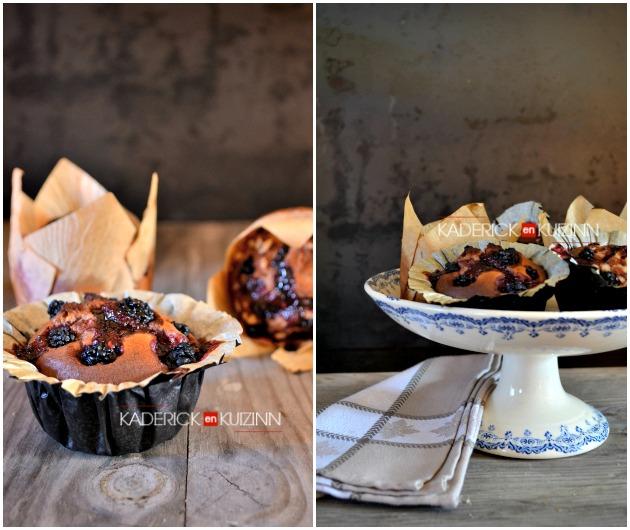 Recette muffins - muffins à la crème frangipane, framboises et mûres
