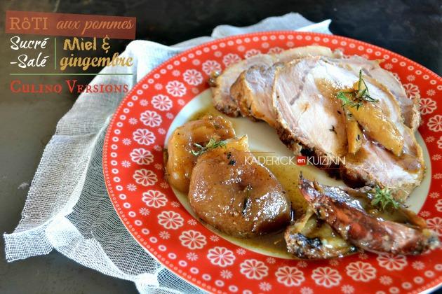 Recette porc - rôti de porc en sucré-salé aux pommes, miel et gingembre