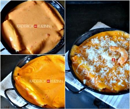 Recette cannelloni à la farce noix St-Jacques, crevettes et parmesan