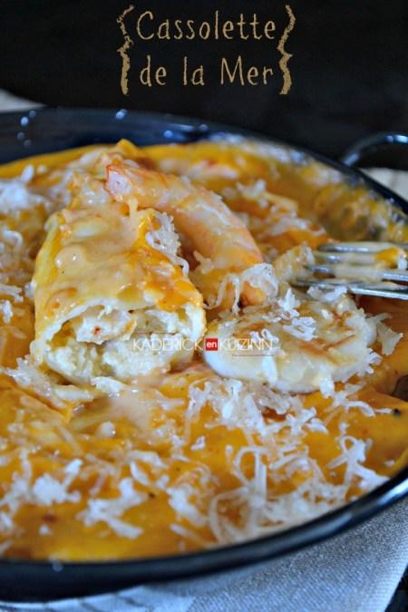 Recette cannelloni à la farce noix St-Jacques, crevettes et parmesan en cassolette